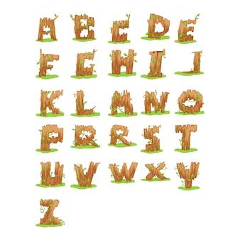 Wood alphabet letter - a-z illustration