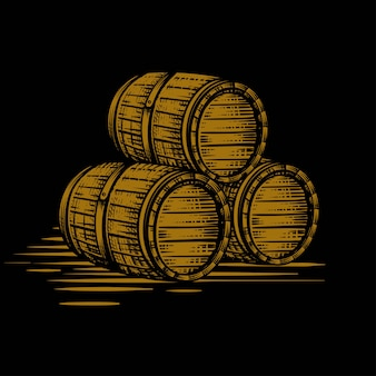 Wood barrel gold hand drawn engraving style illustrations