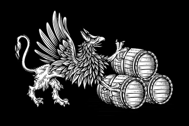 Wood barrel and griffin hand drawn engraving style illustrations