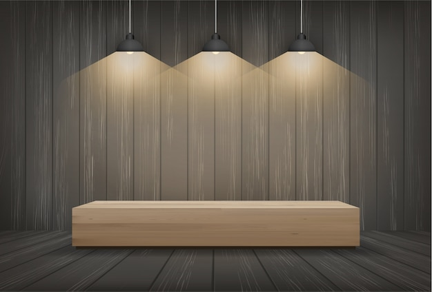 Wood bench in dark room space background with light bulb.