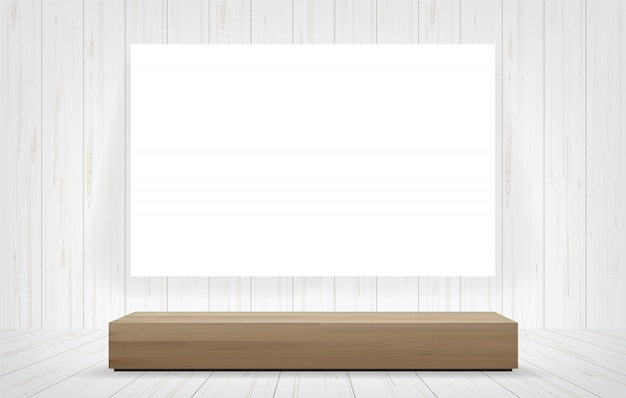Wood bench and white canvas frame in room space background.