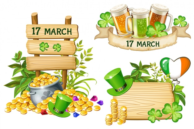 Wood board and elements on feast of saint patrick