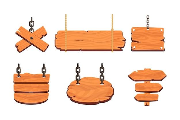ウッドボード。木製のバナー、道標、看板、木の板のイラスト。メッセージ用のさまざまなテクスチャの看板バナー。