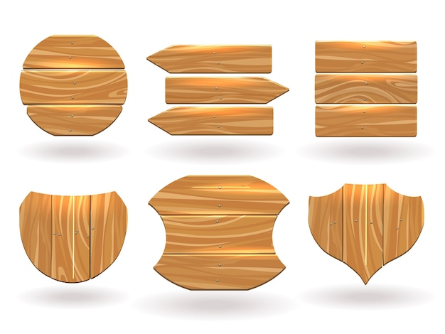 Wood boards of different shapes. platform assembled from planks and nails.
