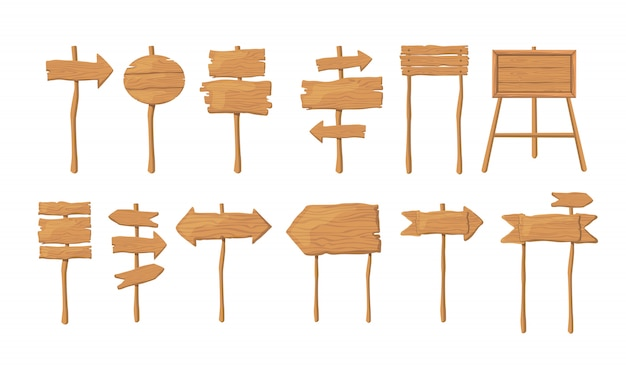 Wood boards on stick flat vector collection