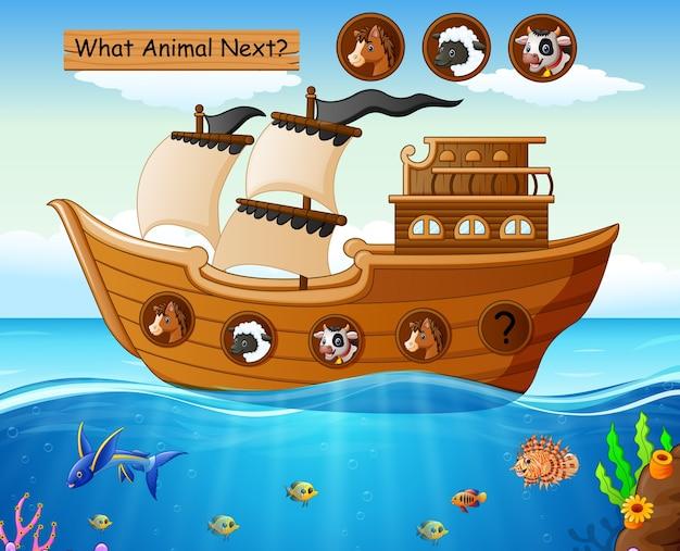 Wood boat sailing with farm animals theme