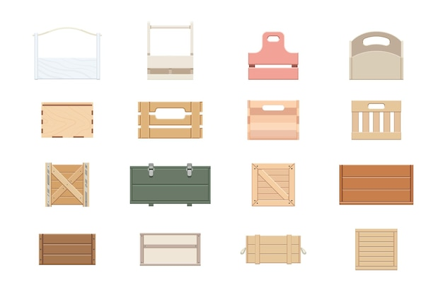 Wood box, crate and basket parcel packing postal pallet set. wooden container for fragile goods cargo shipping, storage, delivery and distribution vector illustration isolated on white background