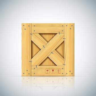 交差したパレットが付いている木箱