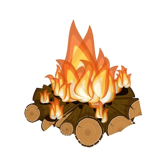 Wood burning, bright campfire isolated on white background.