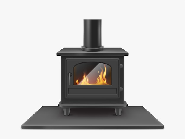 Wood burning stove, iron fireplace with fire inside isolated, indoors traditional heating system in modern style. household equipment. realistic 3d vector illustration, clip art