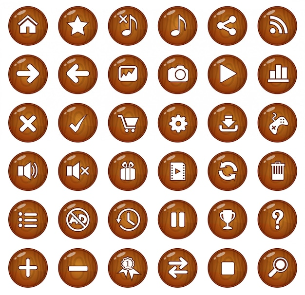Wood buttons and icon set.