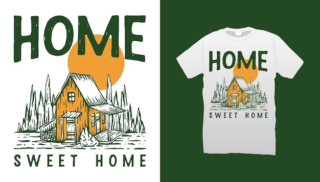 나무 오두막 그림 tshirt 디자인