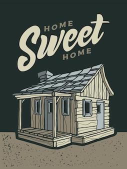 Wood cabin illustration