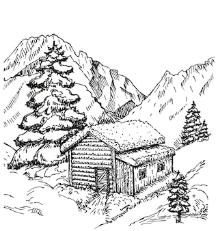 冬の風景イラストの木製キャビン。雪のある冬の家。クリスマス