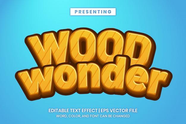 Wood cartoon game style редактируемый текстовый эффект