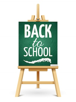 Wood chalk easel or school board with chalk. back to school chalkboard template