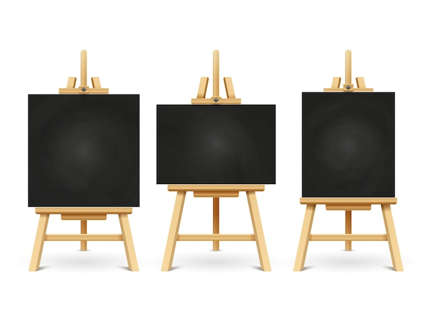 Wood chalk easels or painting art boards isolated on white
