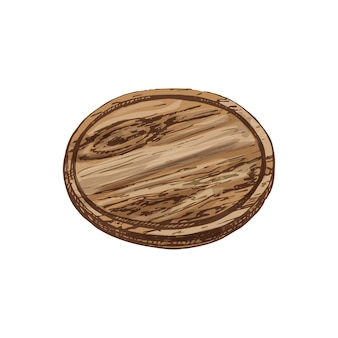 Wood circle cutting board. vintage hatching vector color illustration. isolated on white background. hand drawn design