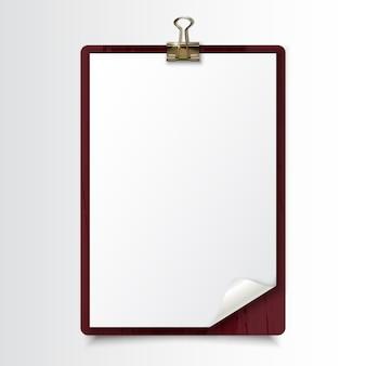 Wood clipboard with blank white paper sheet