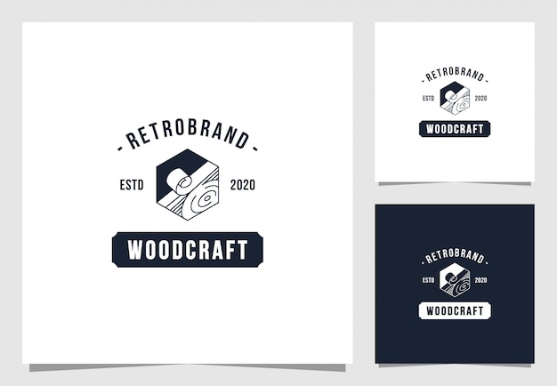 Wood craft logo in vintage style