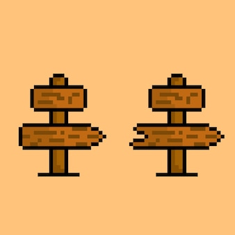 Wood direction sign with pixel art style
