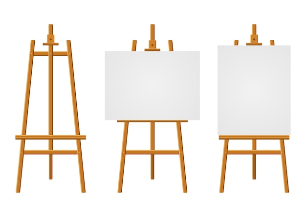 Wood easels or painting art boards with white canvas of different sizes. easels with paper sheets.