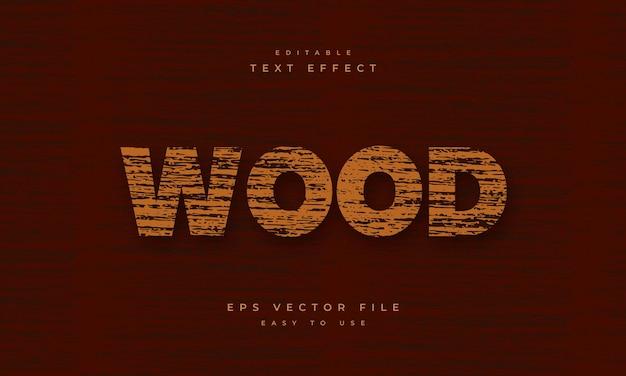 木のテクスチャパターンと木の編集可能なテキスト効果
