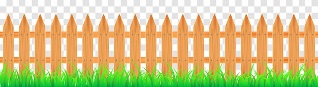 Wood farmer's fence with grass