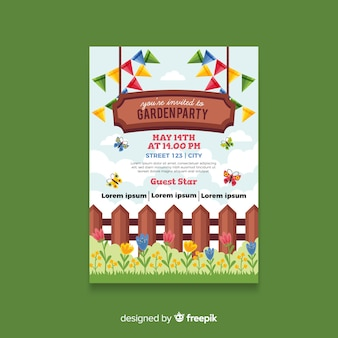 Wood fence spring party poster