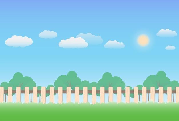 Деревянный забор с фоном природы