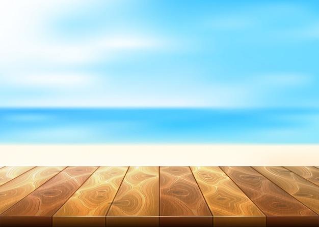 Деревянный пол дорожка моря, береговая линия на фоне голубого неба