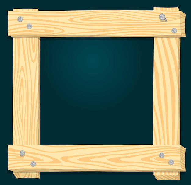 Wood frame on a green background roughly knocked out of boards with nails