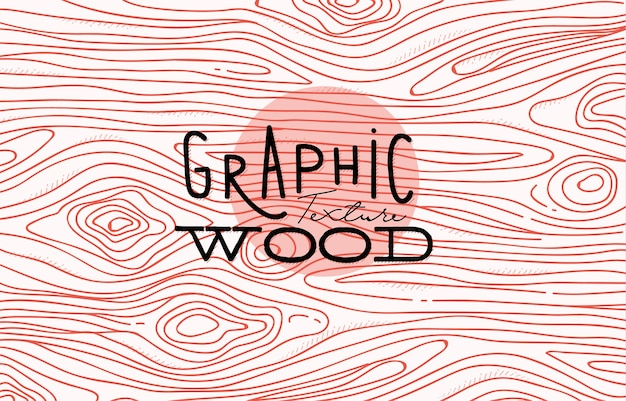 Wood graphic texture drawing with coral lines