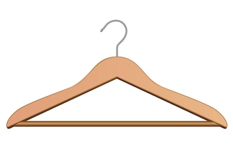 Wood hanger for clothes. Isolated on white.