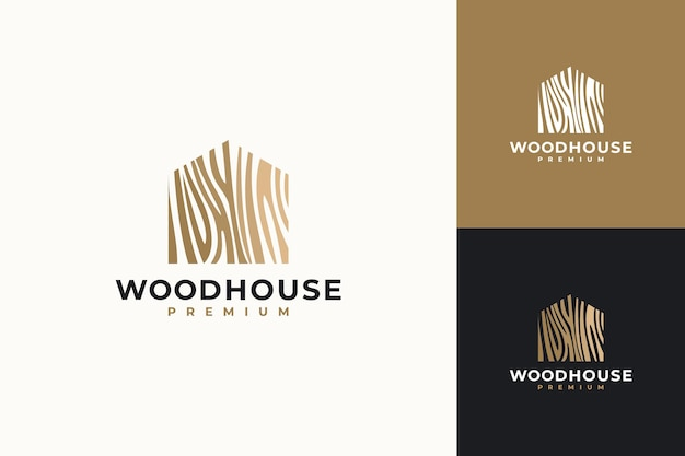 Wood house illustration.home logo design