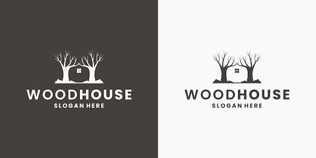 Wood house logo design vector