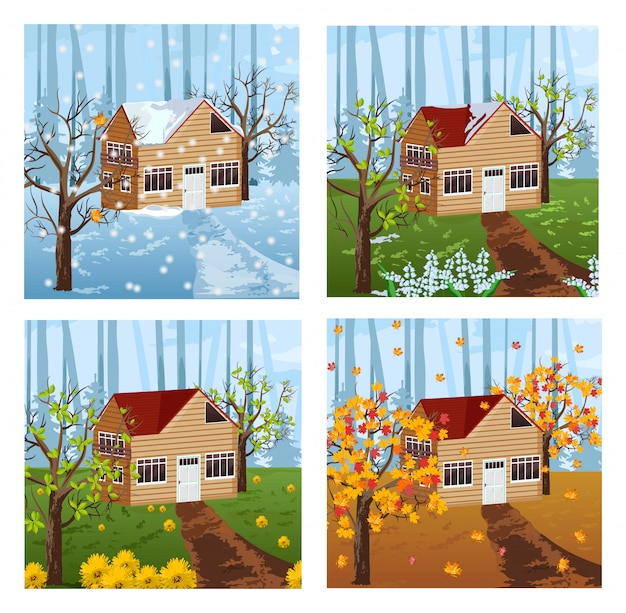Wood house seasons background