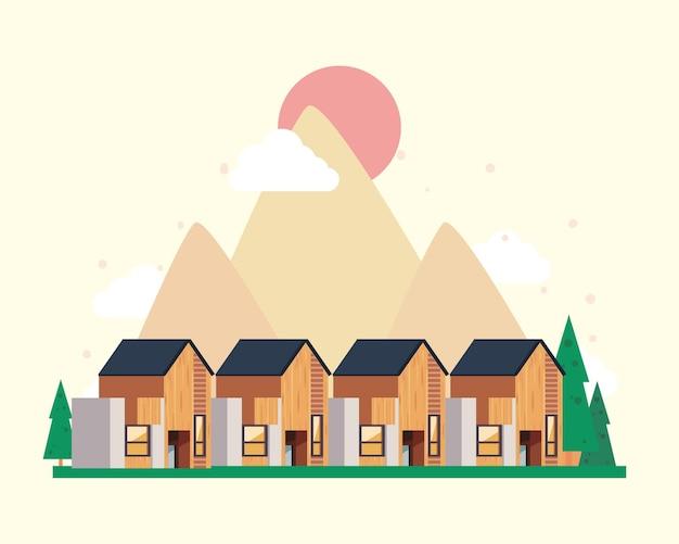 松の木のある木造住宅