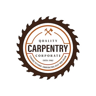 Wood industries company logo template with the concept of saws and carpentry and vintage style