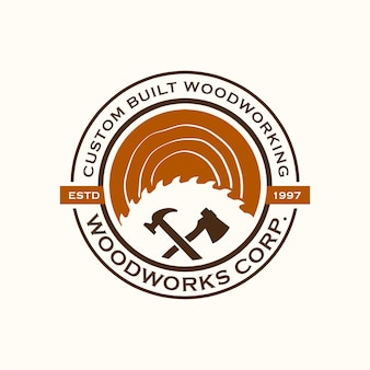 Wood industries company logo vintage style