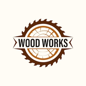 Wood industries company logo with classic and vintage style