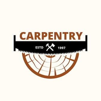 Wood industries company logo with the concept of saws and carpentry and vintage style