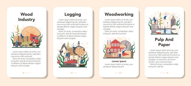 목재 산업 및 종이 생산 모바일 응용 프로그램 배너 세트