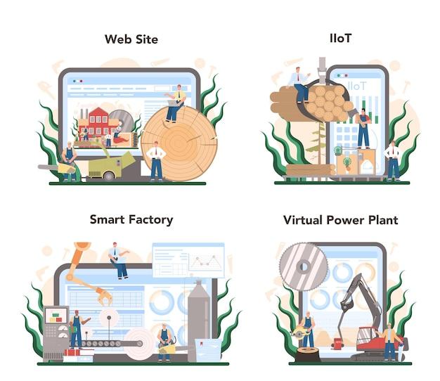 목재 산업 및 종이 생산 온라인 서비스 또는 플랫폼 세트