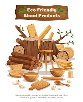 Wood industry eco material and products advertising composition poster with tree trunks planks bowls spoons Free Vector