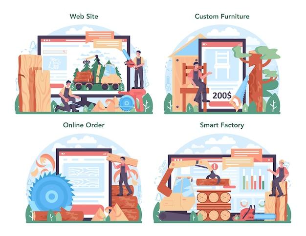 목재 산업 온라인 서비스 또는 플랫폼 세트. 벌목 및 목공 과정