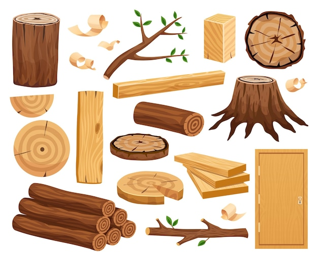 Wood industry raw material and production samples flat set with tree trunk logs planks door