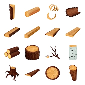 Wood log cartoon elements. timber vector illustration.