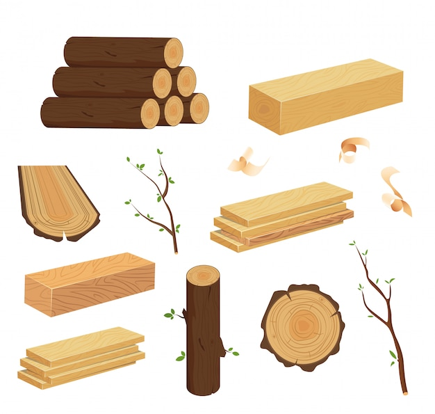 Wood log and trunk, stump and plank. set of woodpile, brushwood, firewood hut, stacks wooden logs.