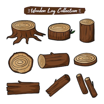 Wood logs collection set